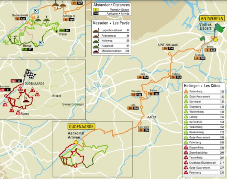 Kaart Ronde van Vlaanderen