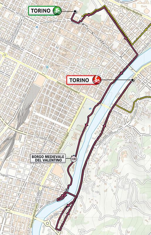 Route 1e etappe Giro d'Italia 2021 Turijn