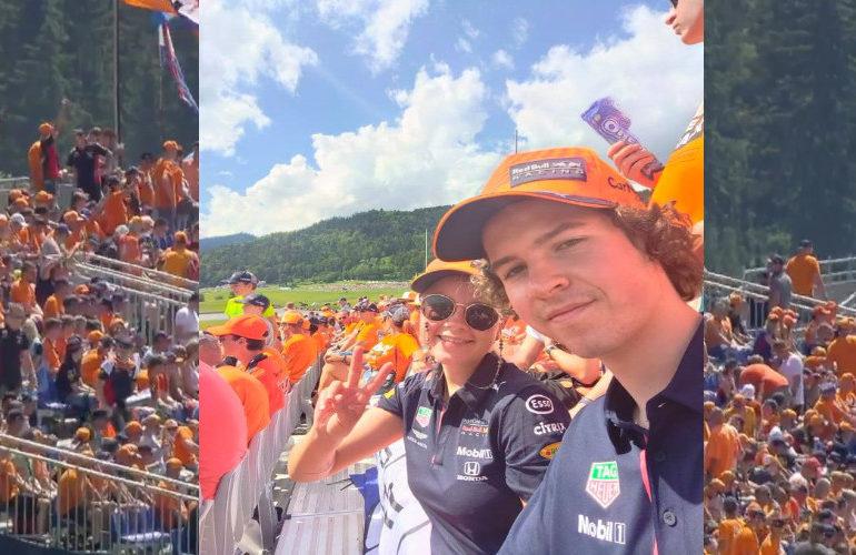 Fans genieten op de Max Verstappen tribune