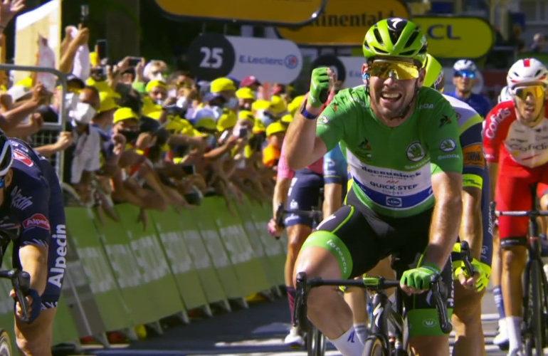 Cavendish wint en komt op gelijke hoogte met Merckx