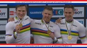 Teamsprinters winnen goud bij WK in Roubaix